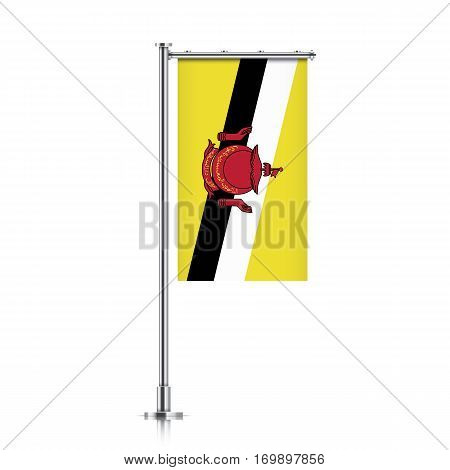 Brunei vector banner flag hanging on a silver metallic pole. Vertical Brunei flag template isolated on a white background.