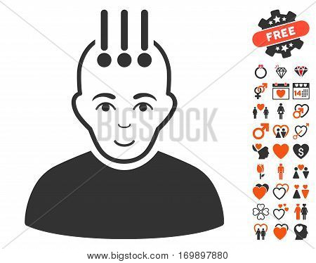 Neural Interface pictograph with bonus decoration pictograph collection. Vector illustration style is flat iconic symbols for web design app user interfaces.