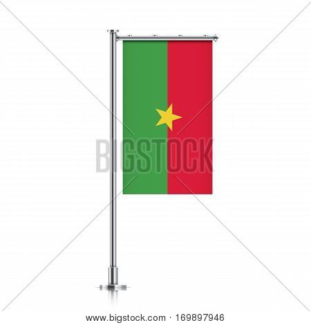 Burkina Faso vector banner flag hanging on a silver metallic pole. Vertical Burkina Faso flag template isolated on a white background.