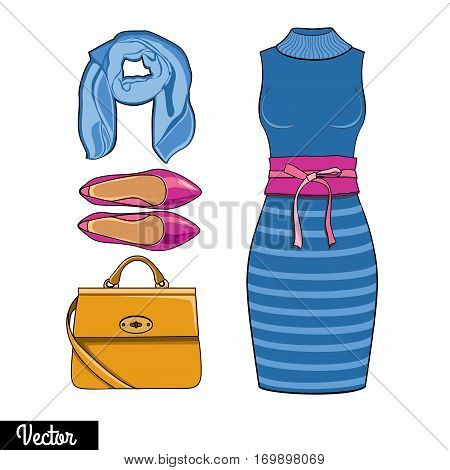 Illustration stylish and trendy clothing. Skirt, bag, shawl, sweater, jumper, high-heeled shoes.  Silhouette made in modern flat vector style. Fashion vector Illustration