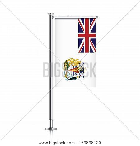 British Antarctic Territory vector banner flag hanging on a silver metallic pole. Vertical British Antarctic Territory flag template isolated on background.