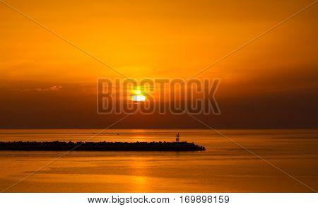 The beautiful sunrise on Bari in Italy.