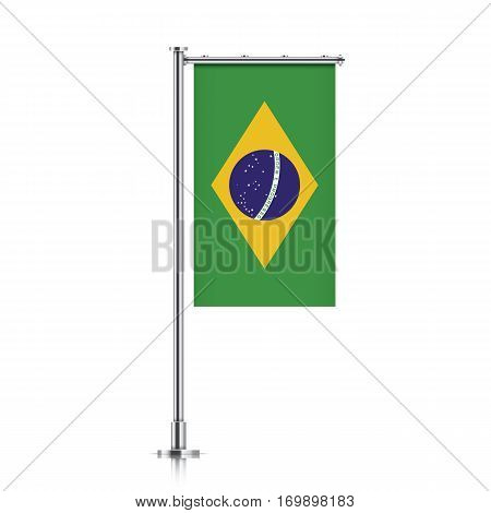 Brazil vector banner flag hanging on a silver metallic pole. Vertical Brazil flag template isolated on a white background.