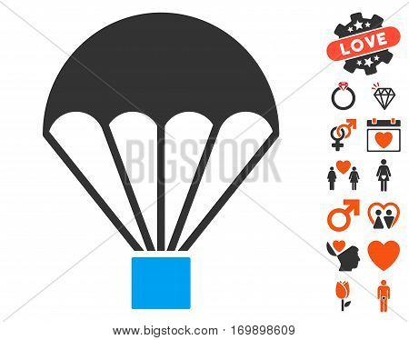 Parachute pictograph with bonus dating pictograph collection. Vector illustration style is flat iconic symbols for web design app user interfaces.
