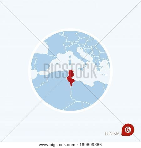 Map Icon Of Tunisia. Blue Map Of Europe With Highlighted Tunisia In Red Color.