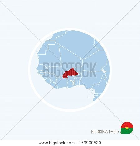 Map Icon Of Burkina Faso. Blue Map Of West Africa With Highlighted Burkina Faso In Red Color.