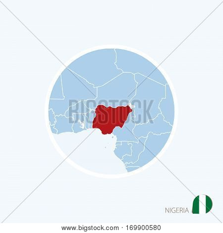 Map Icon Of Nigeria. Blue Map Of West Africa With Highlighted Nigeria In Red Color.