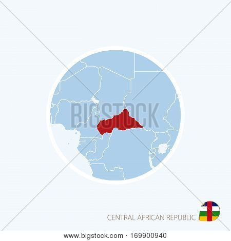 Map Icon Of Central African Republic. Blue Map Of Africa With Highlighted Car In Red Color.