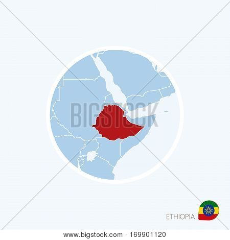 Map Icon Of Ethiopia. Blue Map Of Africa With Highlighted Ethiopia In Red Color.