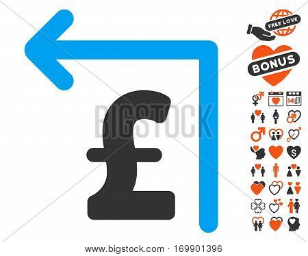 Pound Moneyback pictograph with bonus love graphic icons. Vector illustration style is flat iconic elements for web design app user interfaces.