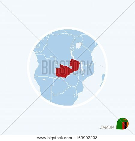 Map Icon Of Zambia. Blue Map Of Africa With Highlighted Zambia In Red Color.