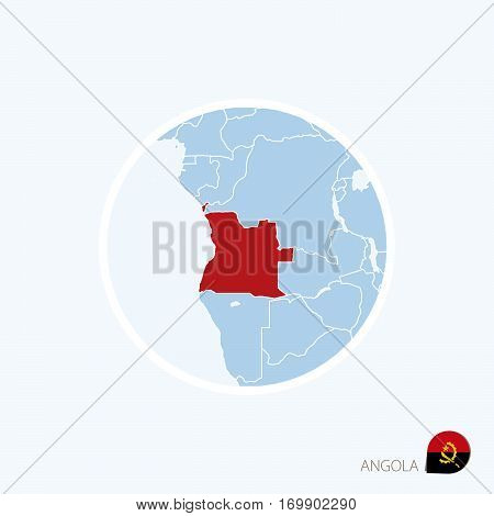 Map Icon Of Angola. Blue Map Of Africa With Highlighted Angola In Red Color.
