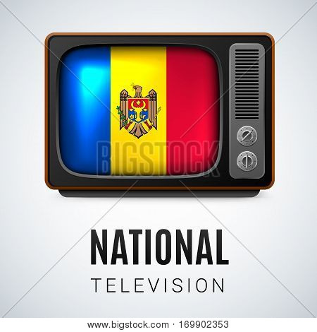 Vintage TV and Flag of Moldova as Symbol National Television. Tele Receiver with Moldovan flag