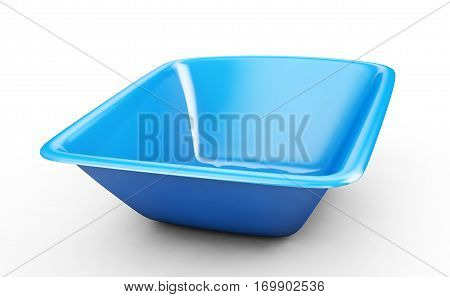 Blue plastic washbowl isolated on white background 3D rendering