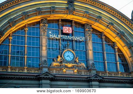 FRANKFURT AM MAIN, GERMANY- AUGUST 28, 2014: Facade of Deutsche Bahn railway central station (Hauptbahnhof). Deutsche Bahn describes itself as the second-largest transport company in the world