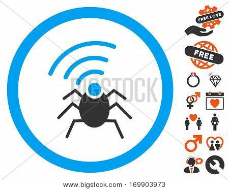 Radio Spy Bug pictograph with bonus decorative clip art. Vector illustration style is flat iconic elements for web design app user interfaces.