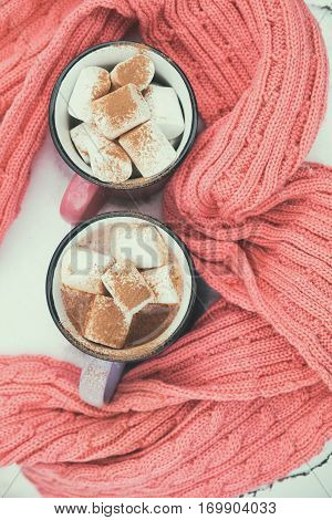 Hot Chocolate With Marshmallow In Pink Cups
