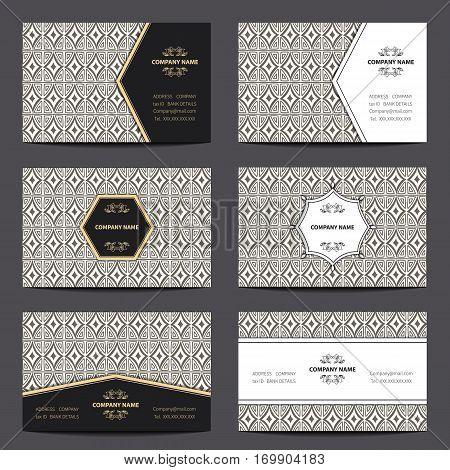 Set vintage business card with Islam, Arabic, geometric patterns, boho motifs.Oriental ornaments.Vector illustration.
