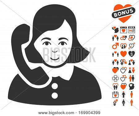 Receptionist icon with bonus marriage pictograph collection. Vector illustration style is flat iconic elements for web design app user interfaces.