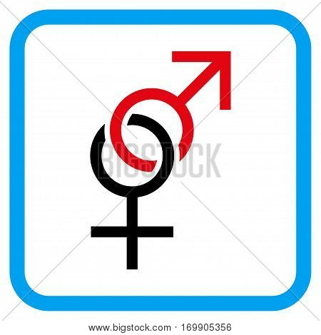 Sex Symbol vector icon. Image style is a flat pictogram symbol in a rounded square blue frame.