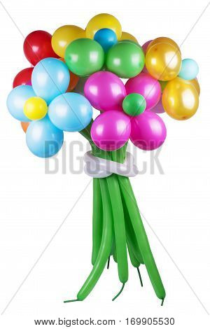 Flowers made from vibrant twisted balloons isolated on white background.