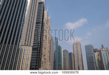 SHANGHAI - FEBRUARY 29: Lujiazui financial district skyscrapers buildings landscape in Shanghai,Shanghai Lujiazui is one of the most influential financial center of China, February 29, 2016.