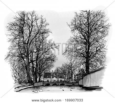 Belgium, Bruges - Canal with house and bridge - Vector illustration