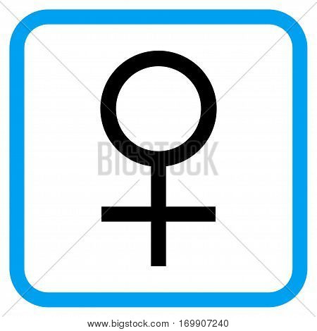 Venus Female Symbol vector icon. Image style is a flat iconic symbol in a rounded square blue frame.