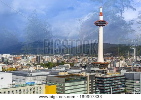 KYOTO, JAPAN - NOVEMBER 10, 2016 : View from the window of main railway station in Kyoto, Japan. Kyoto was formerly the Imperial capital of Japan for more than one thousand years.