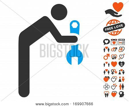 Serviceman icon with bonus lovely graphic icons. Vector illustration style is flat iconic symbols for web design app user interfaces.