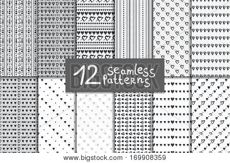 Doodle seamless pattern set with hearts. Twelve black and white vector valentines day backgrounds.