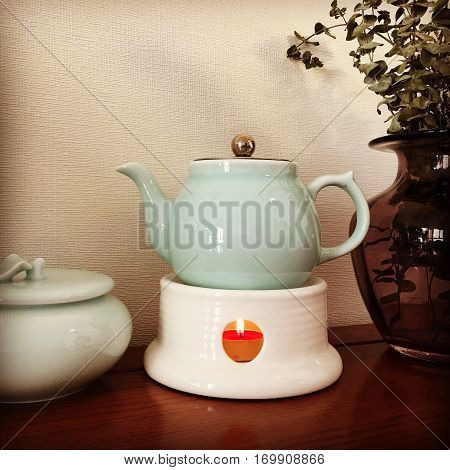Teapot of Longquan celadon, one of the most famous Chinese porcelain poster