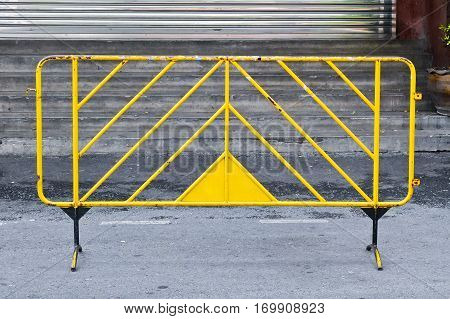 Safety protection concept. Metal stand transport barrier.