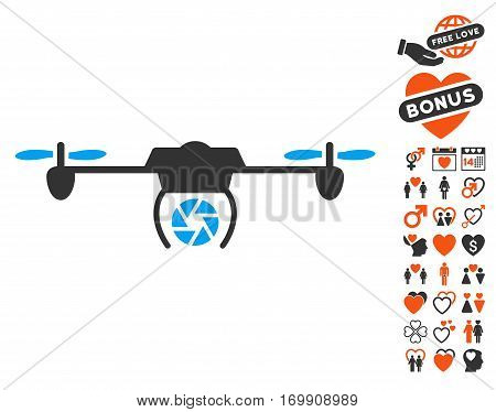 Shutter Spy Airdrone pictograph with bonus lovely images. Vector illustration style is flat iconic symbols for web design app user interfaces.