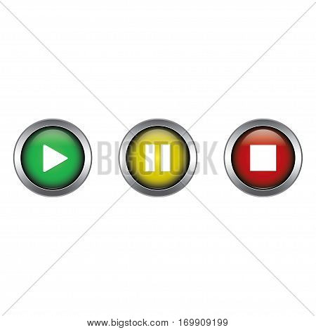Play, Pause and Stop buttons collection vector design isolated on white background