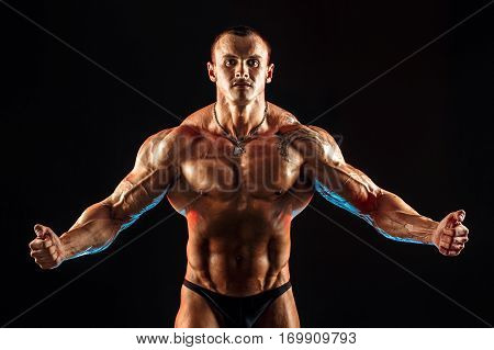 shirtless man with muscular topless body. Isolated.