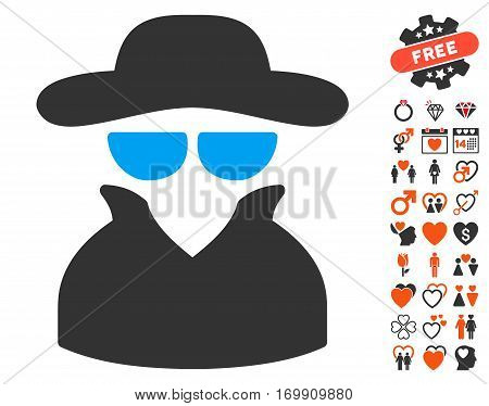 Spy icon with bonus decorative pictograms. Vector illustration style is flat iconic elements for web design app user interfaces.