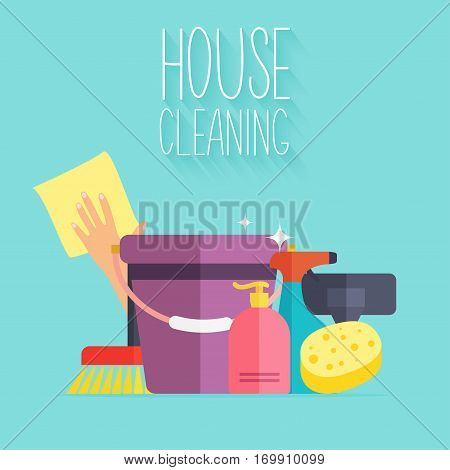 House Cleaning. Poster template for house cleaning services with various cleaning tools.