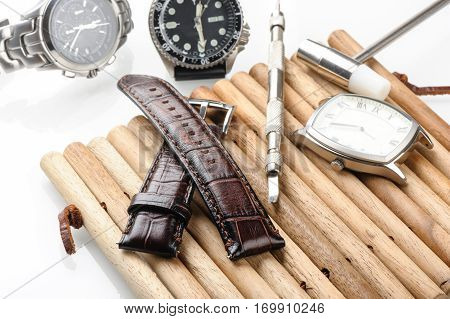 closeup brown leather watch band over white background