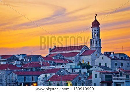 Town Of Betina Skyline At Sunset
