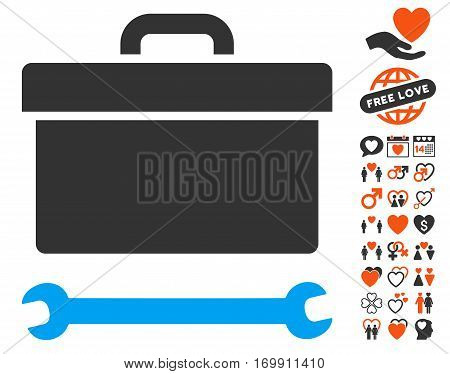 Toolbox pictograph with bonus lovely pictograms. Vector illustration style is flat iconic elements for web design app user interfaces.