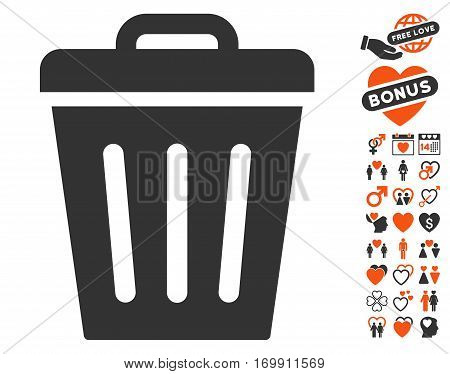 Trash Can pictograph with bonus marriage pictograph collection. Vector illustration style is flat iconic elements for web design app user interfaces.