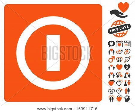 Turn Off icon with bonus decorative pictograph collection. Vector illustration style is flat iconic elements for web design app user interfaces.