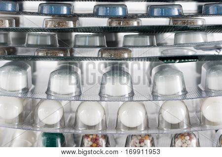 Different medicines. Tablets pills in blister pack. Medications drugs. Pills over a white background. Medicament treatment. Health care photo.