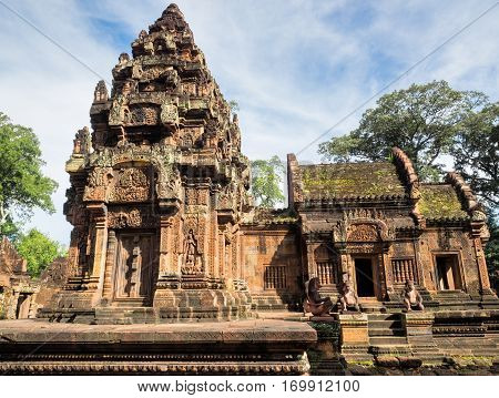 The pagoda of Banteay Srei or Banteay Srey Hindu Temple in Siem Reap Cambodia