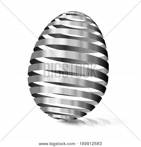 3d Silver egg. Modular eggshell spaced. Happy Easter day. East tradicional gift for good luck. Stylized farm products.