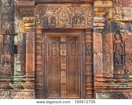The stone door of Banteay Srei or Banteay Srey Hindu Temple in Siem Reap Cambodia