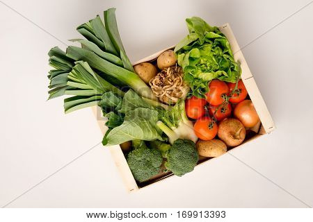 Vegetable Box On A White Background