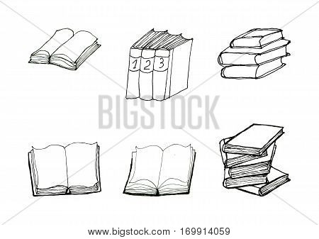 Book doodles collection. Hand drawn black and white set. Six sketchy icons. Reading and education concept.