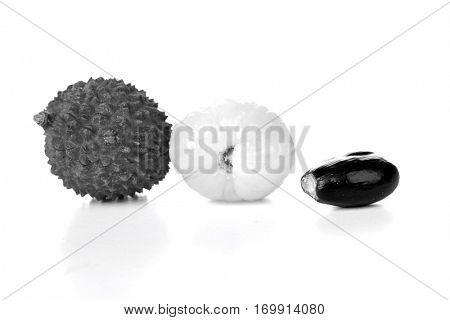 Lichee on white backgound - close-up